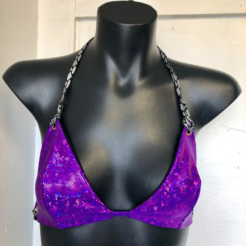Small/Medium  - Kira Bralett - Bright Purple Stardust, Reversible to Black