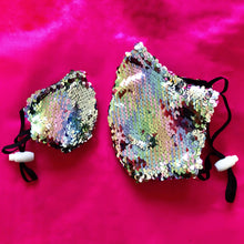 Brunswick Seamed Pastel Rainbow to Silver Sequin  *Limited Edition* Face Mask. Adults and Child Sizes. Made to order