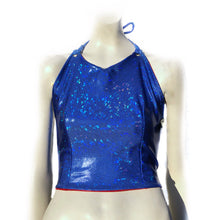 SALE - L - Mad Dame Halter - Red and Blue Holographic