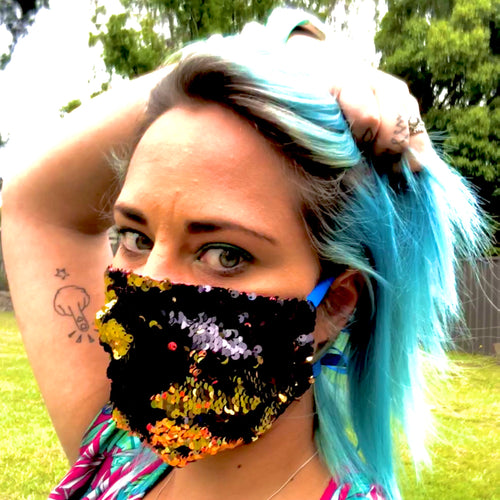 LIMITED STOCK -Thornbury Pleated Black and Gold Reversible Sequin  *Limited Edition* Face Mask - Petite Adult Sizes