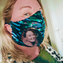 Brunswick Seamed Teal Stripe Sequin  *Limited Edition* Face Mask. Adults and Child Sizes. Made to order