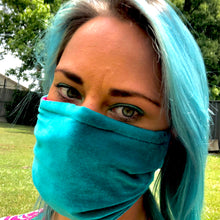 LIMITED STOCK -Thornbury Pleated Teal Velvet  *Limited Edition* Face Mask. Adult Size