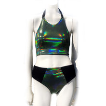 S Mad Dame Halter and S Ellen Knicker - Green Oil Slick and Black