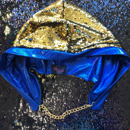 Mad Dame Reversible Hood - Gold and Black Reversible Sequin with Blue