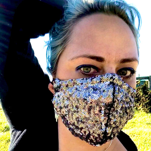 Brunswick Seamed Matt Bronze Sequin *Limited Edition* Face Mask. Adults and Child Sizes. Made to order