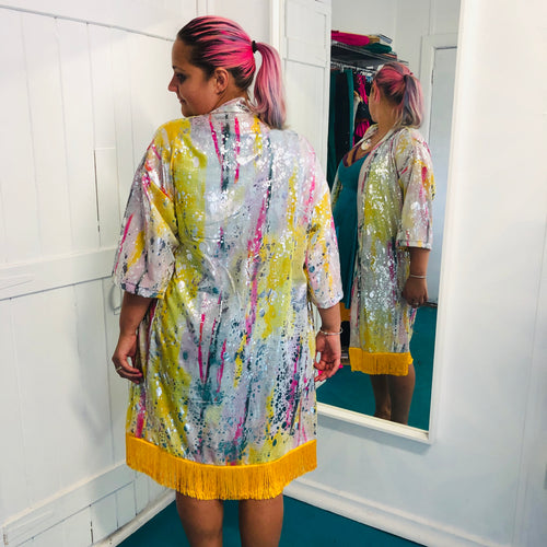 Small/Medium - Alex Unisex Kimono - Pink and Sherbet Lemon Sky