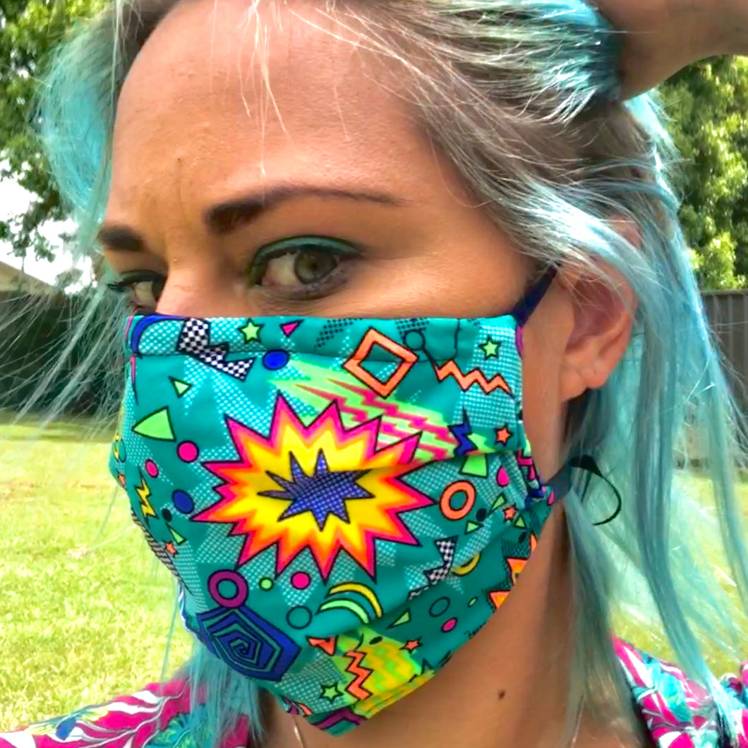 LIMITED STOCK -Thornbury Pleated Neon Cartoon  *Limited Edition* Face Mask - Petite Adult Sizes