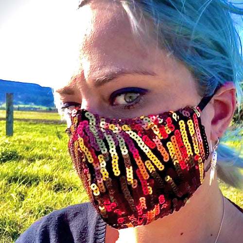 LIMITED STOCK - Brunswick Seamed Fire Stripe Sequin  *Limited Edition* Face Mask. Adults and Child Sizes. Made to order