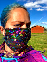 Kensington Pleated Rainbow Squiggle Sequin  *Limited Edition* Face Mask. Adults and Child Sizes. Made to order