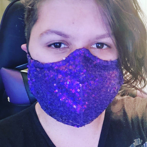 Brunswick Seamed Purple Holographic Sequin  *Limited Edition* Face Mask. Adults and Child Sizes. Made to order