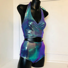 XS-XL - Cara Wrap Top and Jaimee Short Set - Purple Mermaid Metallic and Black