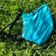 LIMITED STOCK - Brunswick Seamed Teal Tiger Holographic  *Limited Edition* Face Mask. Adults and Child Sizes
