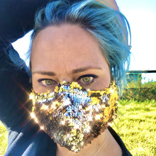 Brunswick Seamed Gold and Silver Sequin  *Limited Edition* Face Mask. Petite Adults and Child Sizes. Made to order