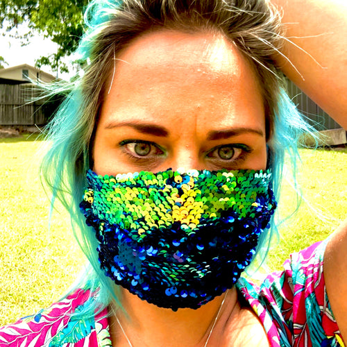 LIMITED STOCK -Thornbury Pleated Green Mermaid to Electric Blue Sequin  *Limited Edition* Face Mask - Petite Adult Sizes