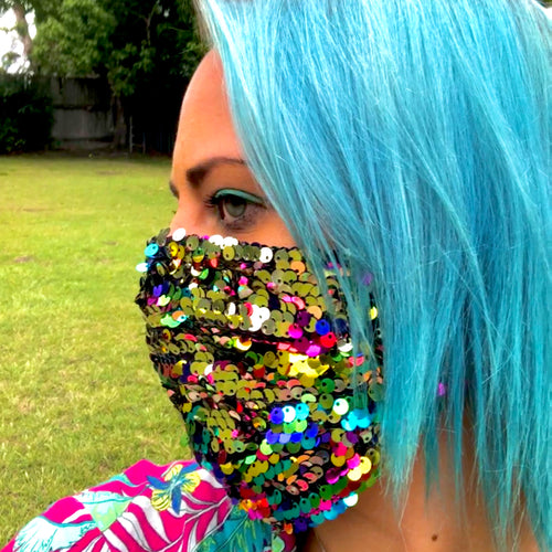 LIMITED STOCK -Thornbury Pleated Rainbow Reversible Sequin  *Limited Edition* Face Mask - Petite Adult Sizes