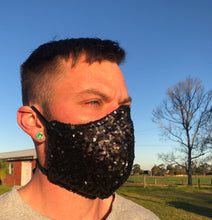 Brunswick Seamed Matt Black and touch of Navy  Sequin *Limited Edition* Face Mask. Adults and Child Sizes. Made to order