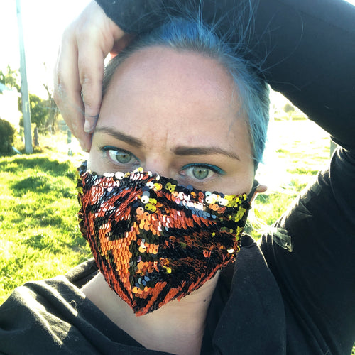 Brunswick Seamed Rose Zigzag - Flips to Gold Sequin  *Limited Edition* Face Mask. Adults and Child Sizes. Made to order
