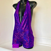 M - Sara Bodysuit - Purple Stardust with Black