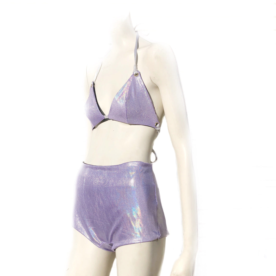 Multiple Sizes - Kira Bralett and Jaimee Shorts - Lilac Holographic and Black