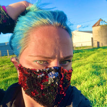 LIMITED STOCK - Brunswick Seamed Red and Black Reversible Sequin  *Limited Edition* Face Mask. Adults and Child Sizes. Made to order