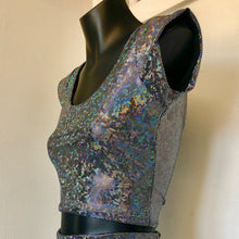 M - Bea Crop Top -  Silver Space Sparkle and Black