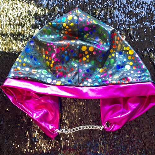 Mad Dame Hood - Playground Rainbow Dot and Hot Pink Foil
