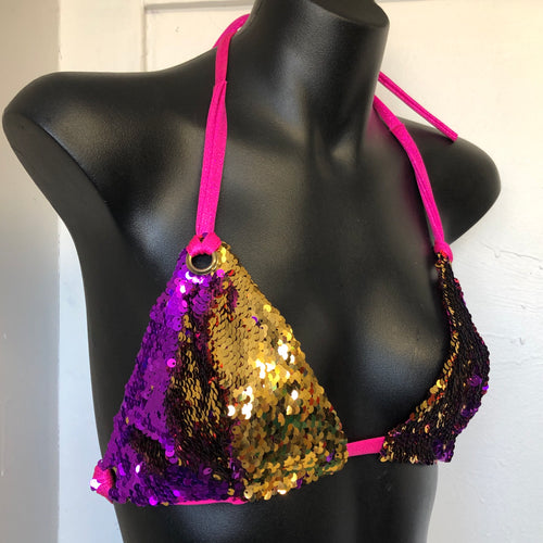 Small/Medium  - Kira Bralett - Pink and Gold Reversible Sequins