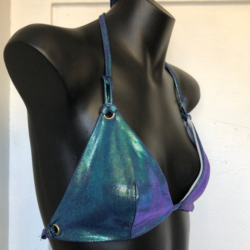 Small/Medium  - Kira Bralett - Mermaid reversible to Holographic white