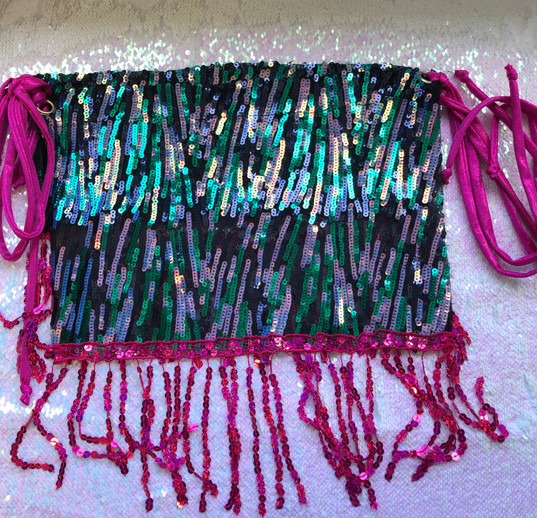 Sample - M - Nancy Skirt - Teal and Pink Sequins