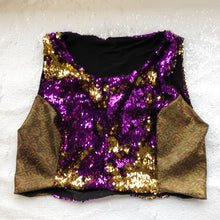 M - Claudia Crop Top - Purple and Gold Reversible Sequin