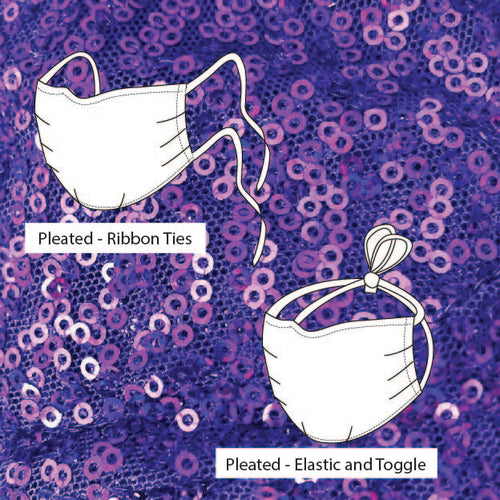 Kensington Pleated Purple Holographic Silver Sequin  *Limited Edition* Face Mask. Adults and Child Sizes. Made to order