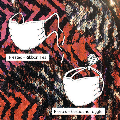 Kensington Pleated Rose Zig Zag flips to Gold Sequin *Limited Edition* Face Mask. Adults and Child Sizes. Made to order