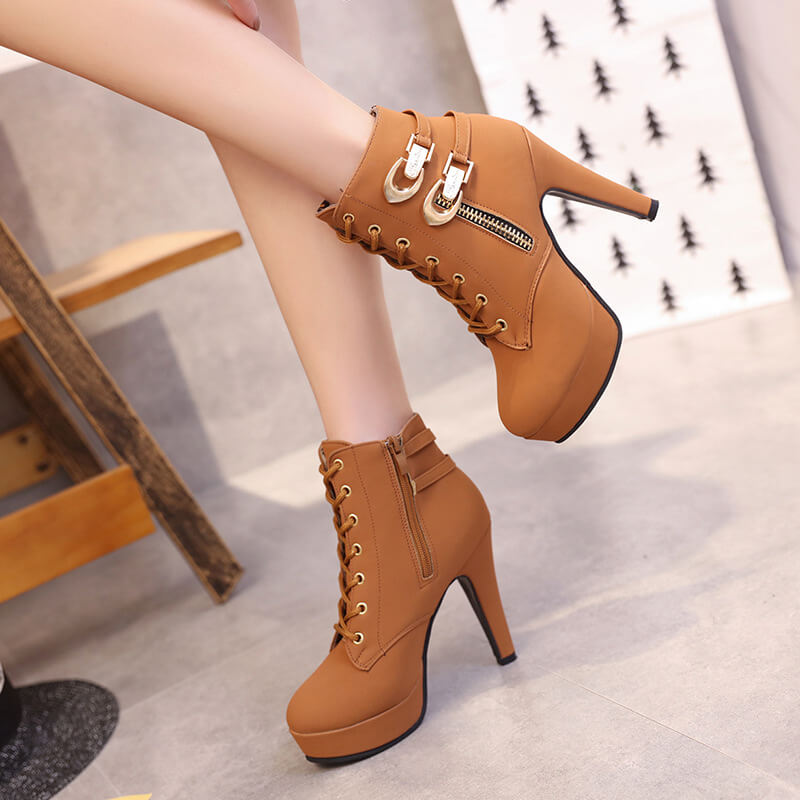 Lace Up High Heel Ankle Platform Martin Boots