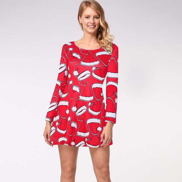 Plus Size Christmas Print Short Jumper Dress