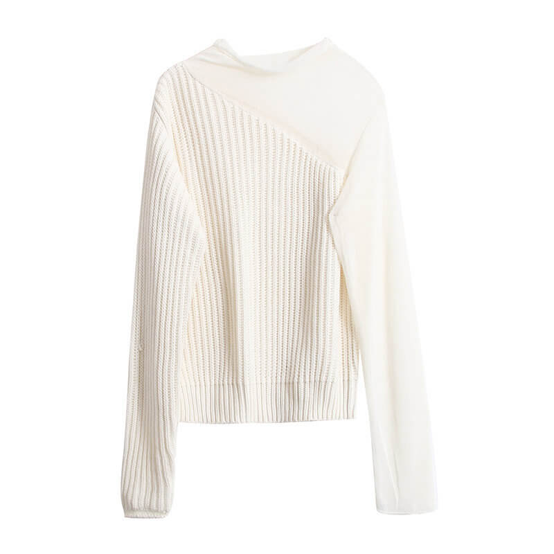Chic See Through Mesh Splice Ribbed Sweater
