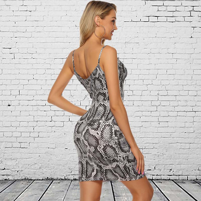 Strap V Neck Snake Print Bodycon Dress
