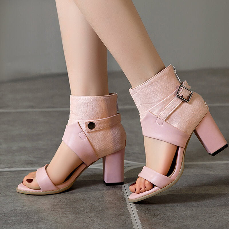 Fashion Open Toe PU Buckle Chunky Heel Sandals