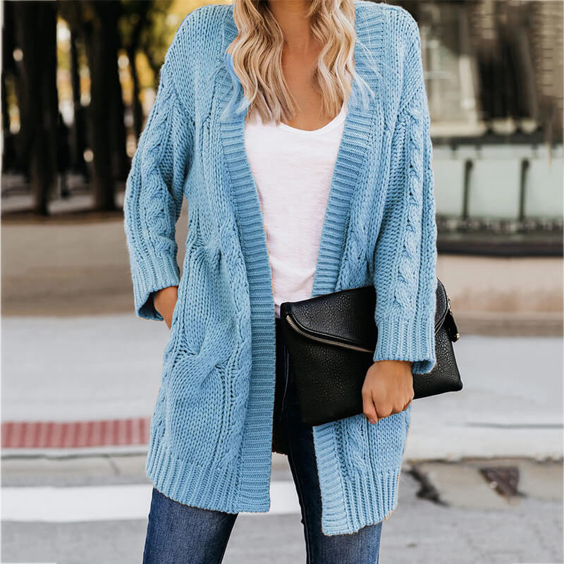 Winter Loose Cable Knitted Sweater Cardigan
