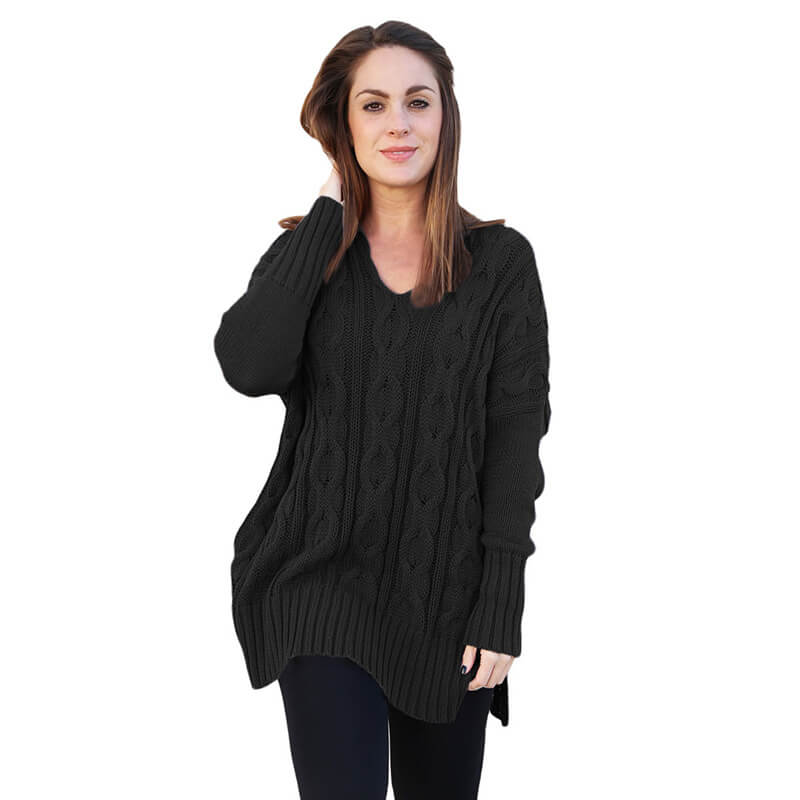 Oversized V Neck Cable Knitted Sweater