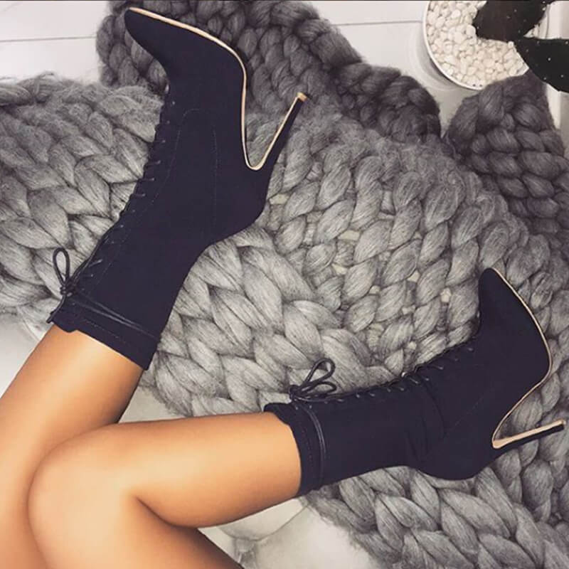 Leather Lace Up High Heel Pointed Toe Calf Boots