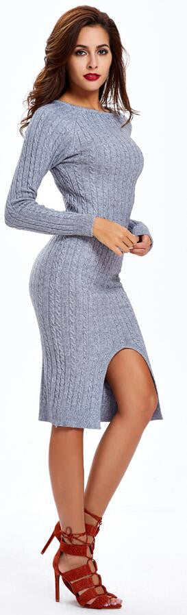 Fashion Slit Slim Twist Knit Long Sweater Dress