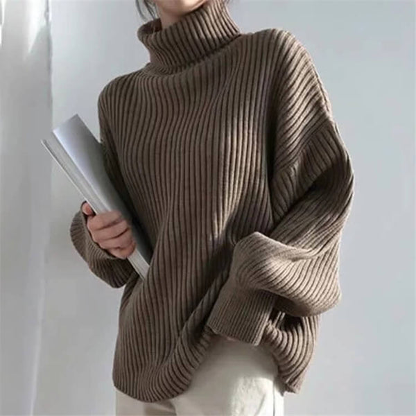 Slouchy Turtleneck Balloon Sleeve Ribbed Sweater