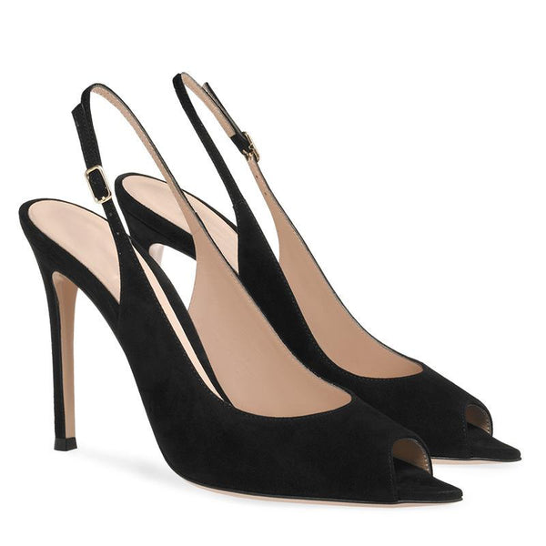 Sexy Black Suede Peep Toe Buckle High Heels