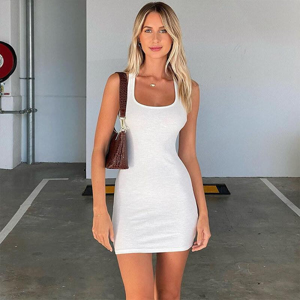 Back Cross Ribbed Bodycon Short Dress