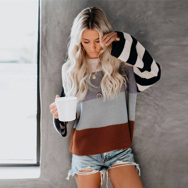 Oversized Crewneck Colorblock Stripes Sweater
