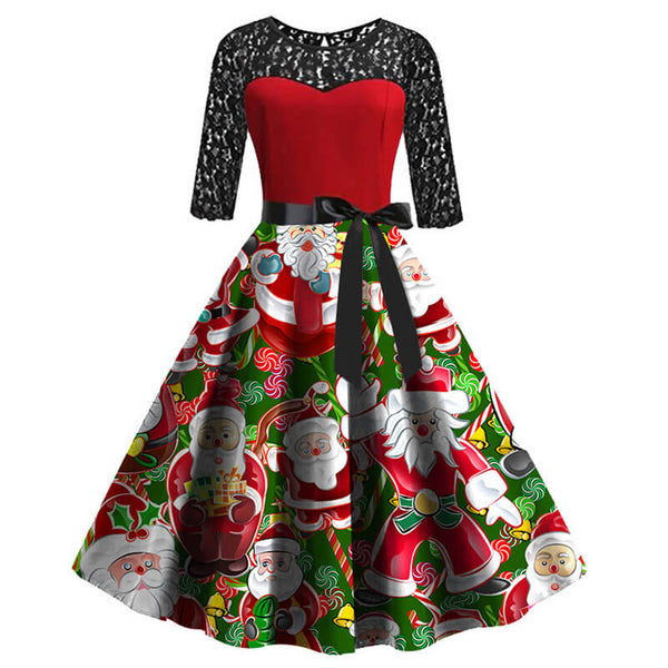Christmas Retro Lace Splice Print Swing Dress