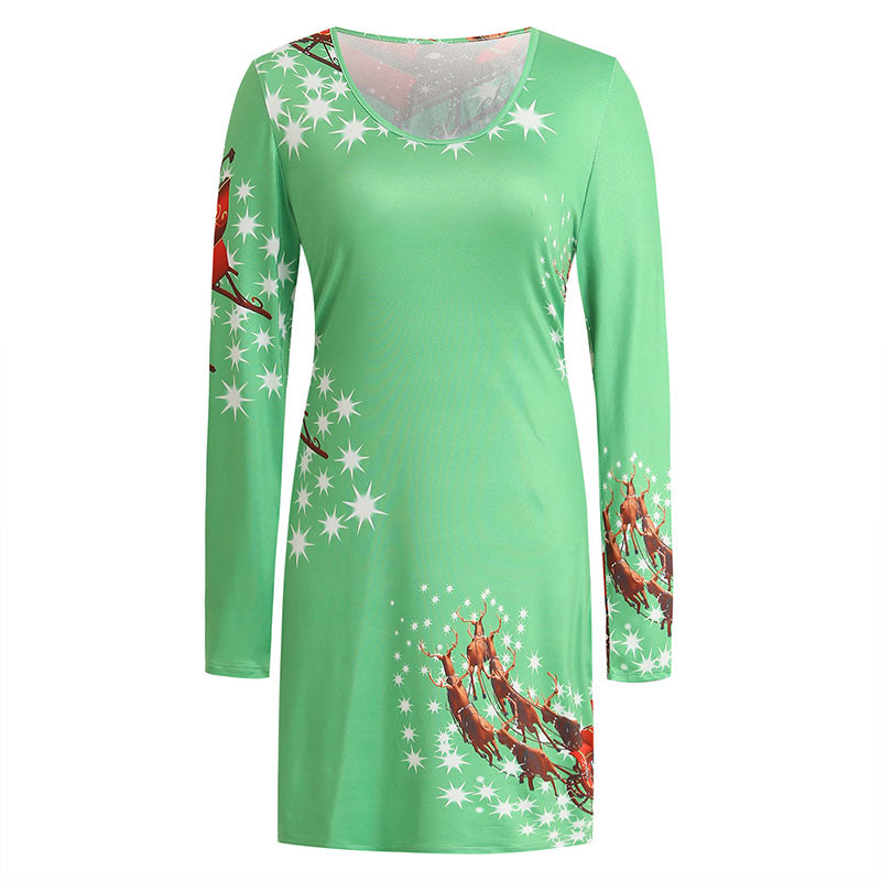 Christmas Reindeer Snowflakes Crewneck Dress