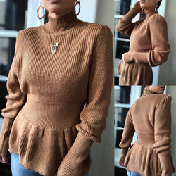 Khaki Slim Turtleneck Knitted Sweater