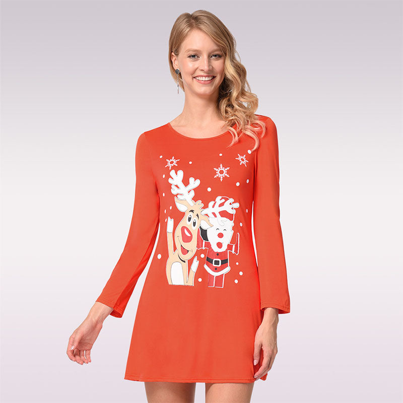 Christmas Print Scoop Neck Pullover Short Dress