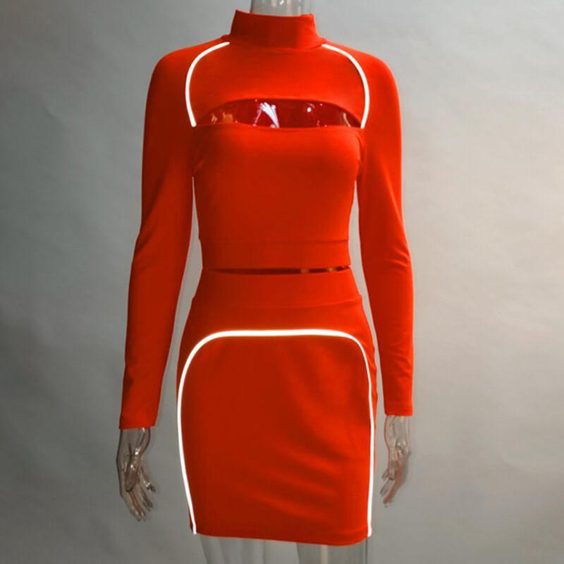 Turtleneck Short Skirt Set